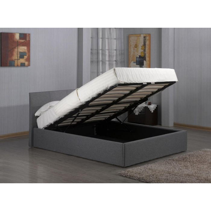 Fusion Fabric Storage Double Bed Grey