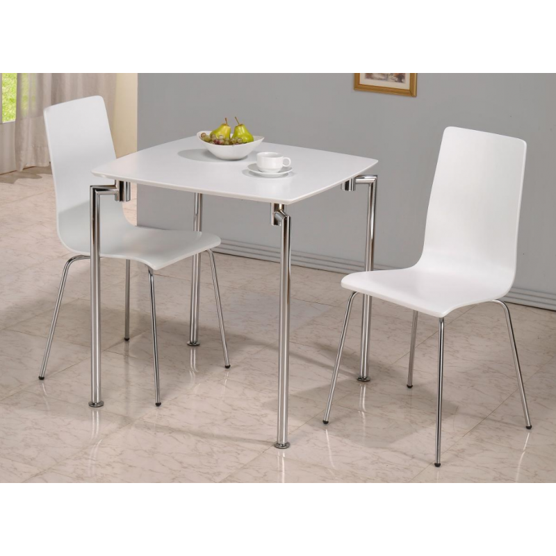 Fiji High Gloss Small Dining Set with 2 White Chairs