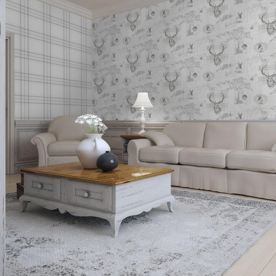 Holden Grey Checked Wallpaper