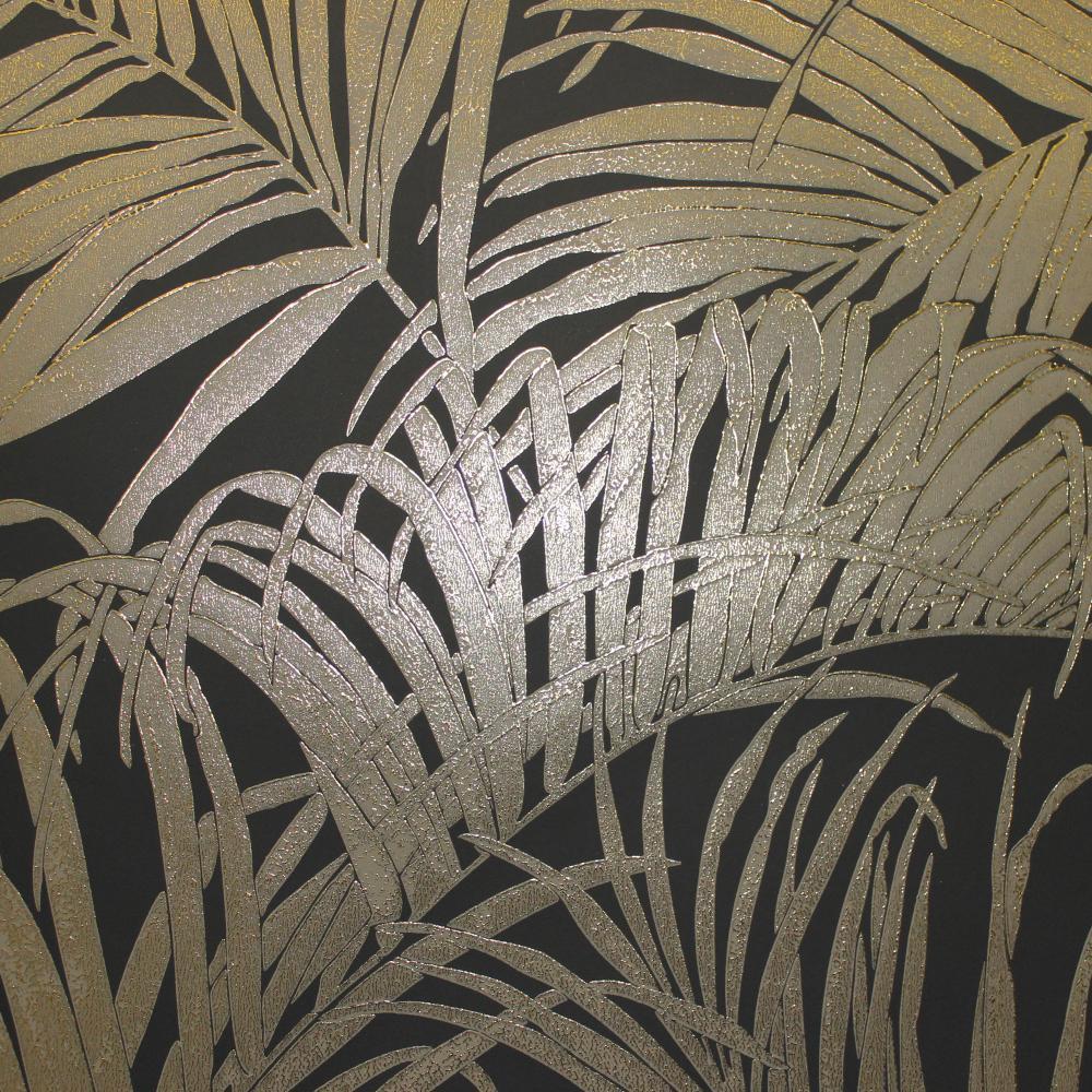 Kiss Foil Bronze Palm Leaf Wallpaper