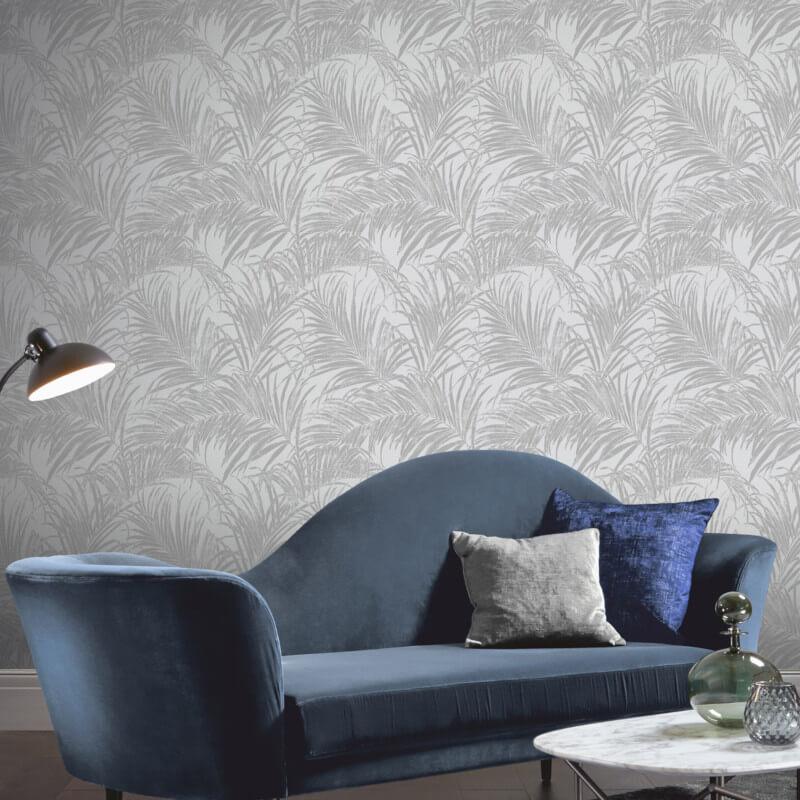 Kiss Foil Silver Palm Leaf Wallpaper
