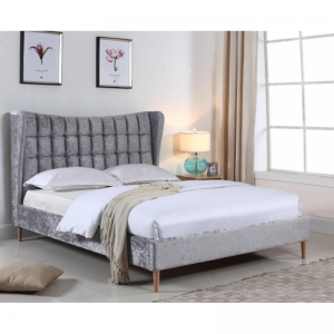 Mahala Crushed Velvet Double Bed - Silver