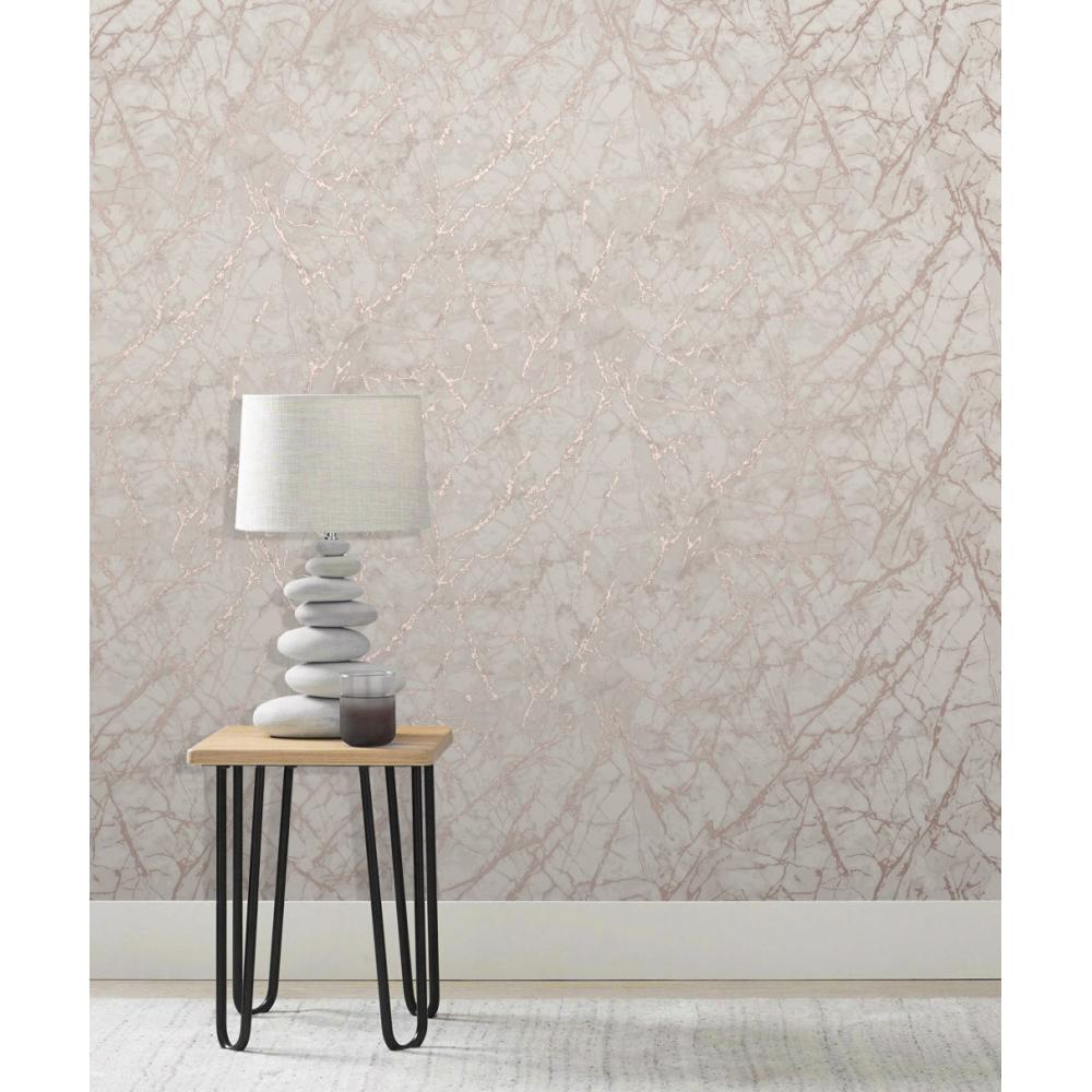 Metallic Rose Gold Marble Wallpaper