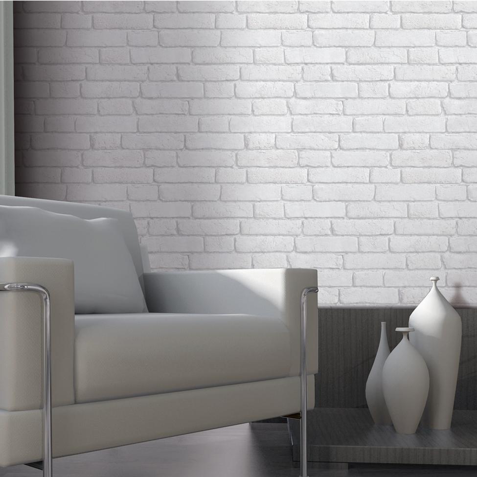 Muriva Bluff White Brick Wallpaper