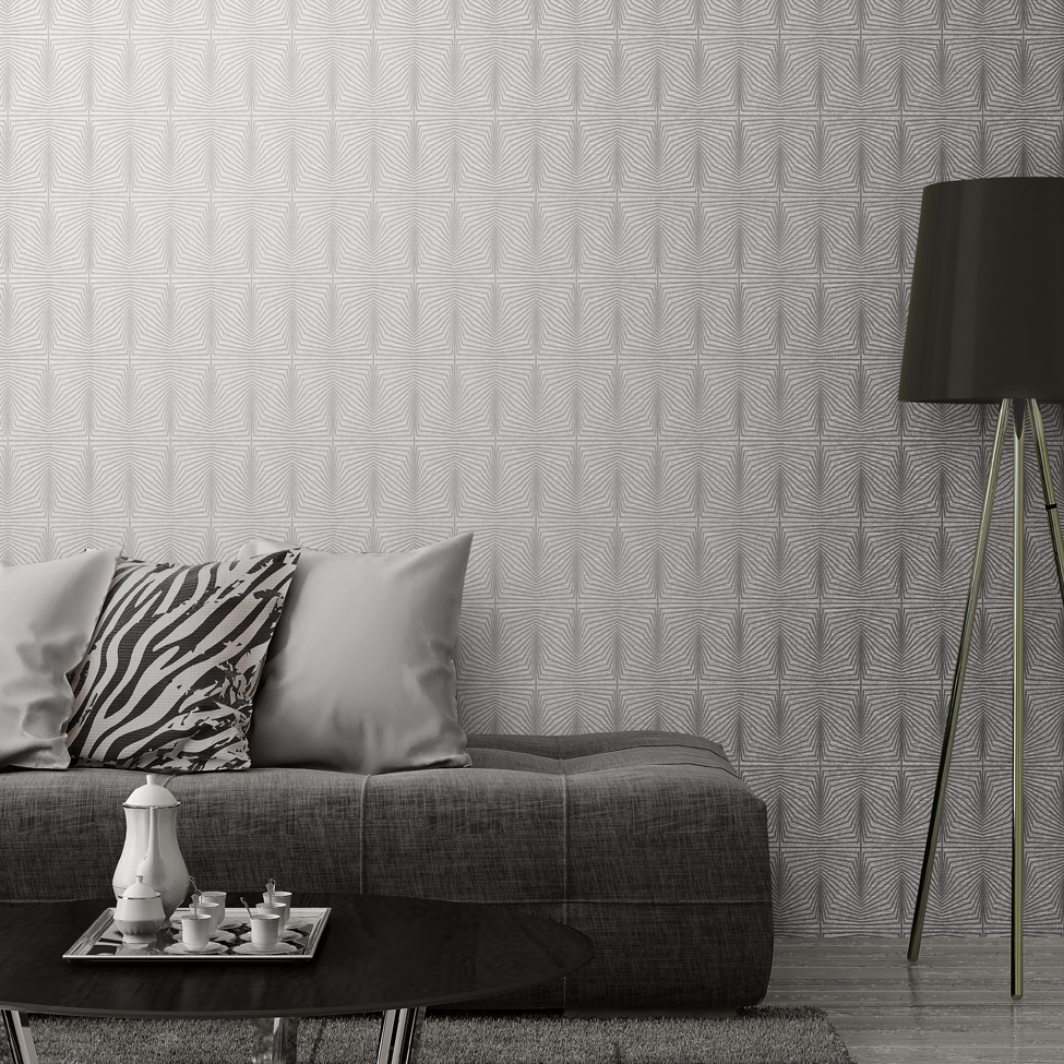Solitaire Textured Silver Geometric Wallpaper