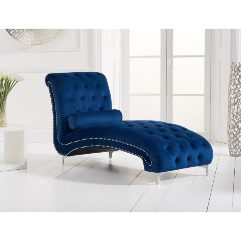 New England Velvet Chaise Lounge - Various Colours Available (Colour: Blue)