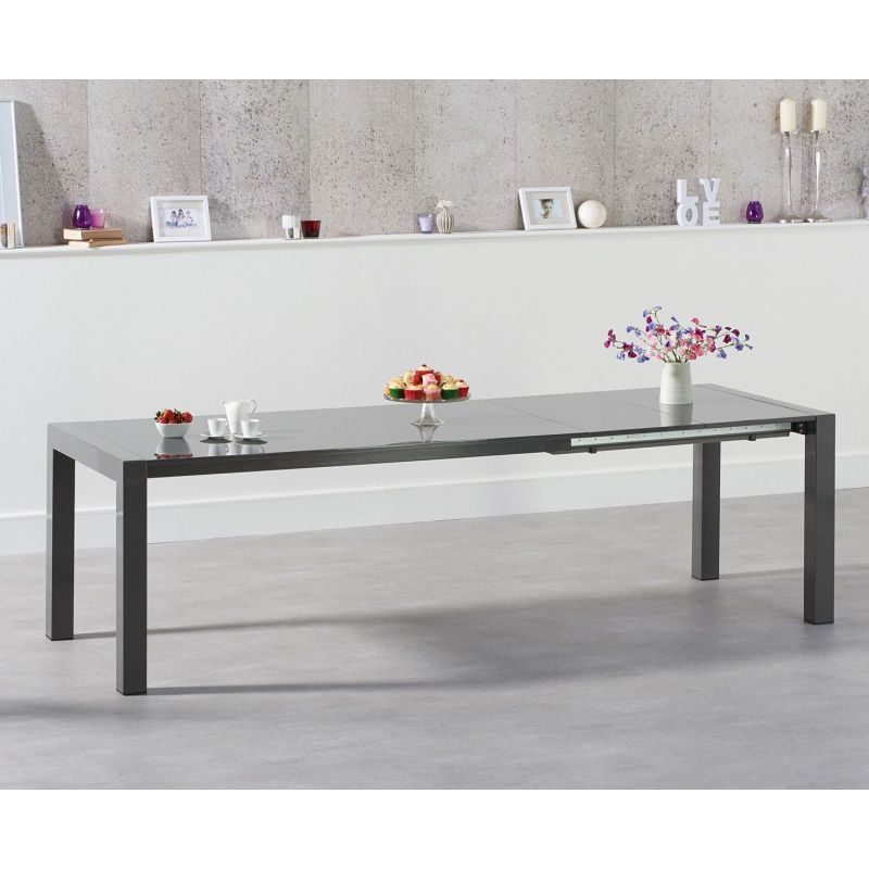 Jamie Extending High Gloss Dining Table - Various Colours Available (Colour: Dark Grey)