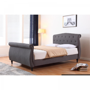Marianna Linen King Size Bed Dark Grey