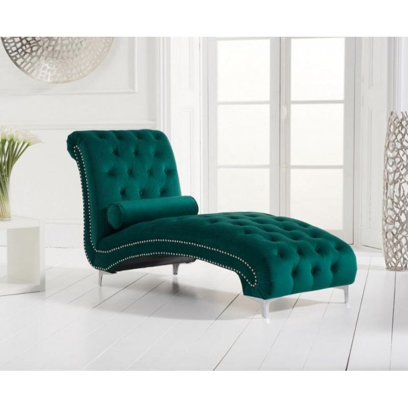 New England Chaise Longue- Green Velvet