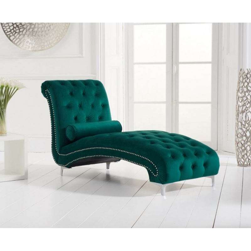 New England Velvet Chaise Lounge - Various Colours Available (Colour: Green)