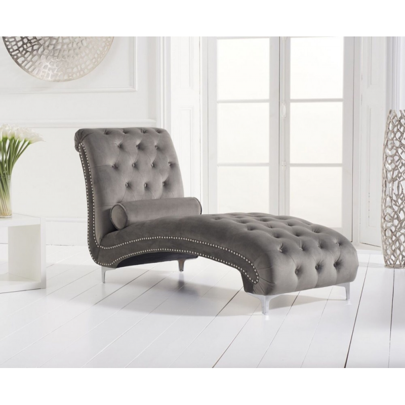 New England Velvet Chaise Lounge - Various Colours Available (Colour: Grey)