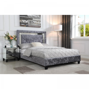 Augustina Crushed Velvet King Size Bed Silver with Mirror
