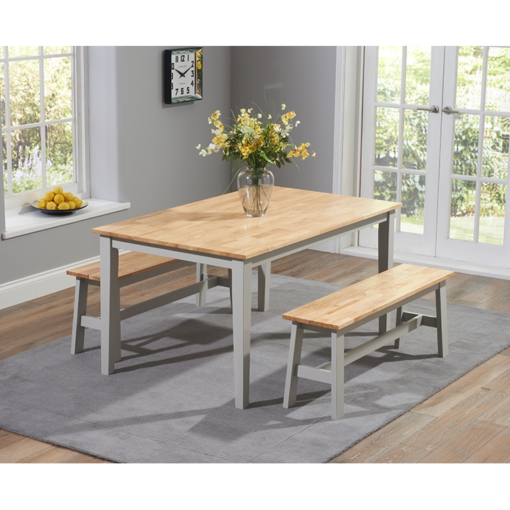 Chichester  Dining Table with 2 Large Benches - Oak and Grey