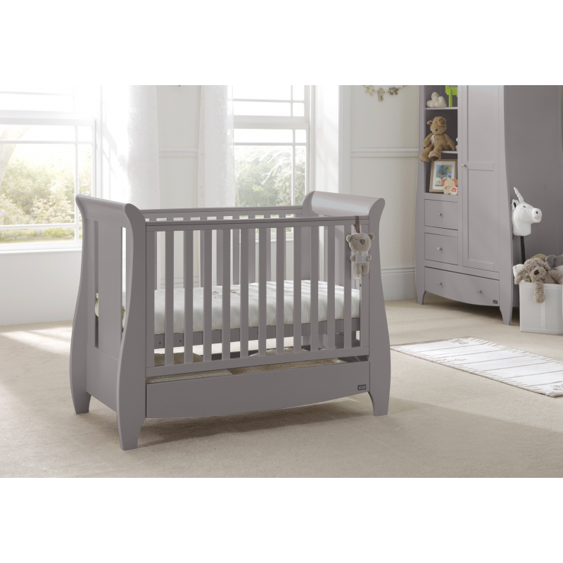 Katie Space Saver Sleigh Cot Bed with Under Bed Drawer - Cool Grey