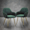 Lara Dining Chair Forest Green With Gold Legs 2