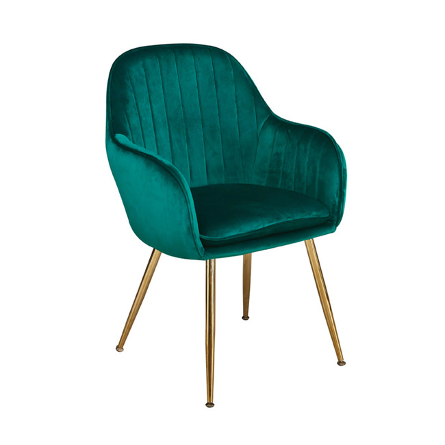 Lara Dining Chair Forest Green With Gold Legs