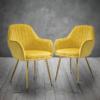 Lara Dining Chair Ochre Yellow With Gold Legs 2