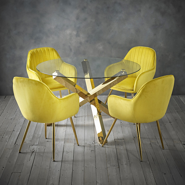 Lara Dining Chair Ochre Yellow With Gold Legs Table