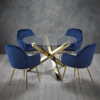 Lara Dining Chair Royal Blue With Gold Leg Table