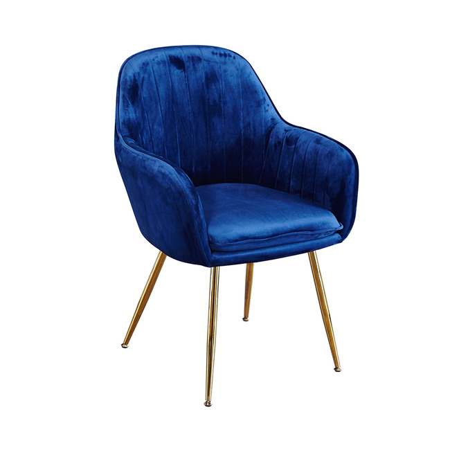 Lara Dining Chair Royal Blue With Gold Legs