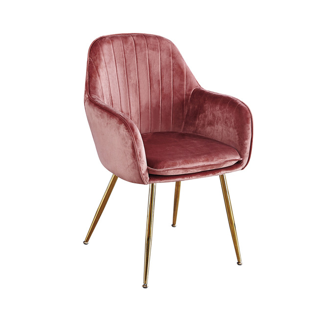 Lara Dining Chair Vintage Pink With Gold Legs