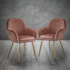 Lara Dining Chair Vintage Pink With Gold Legs 2