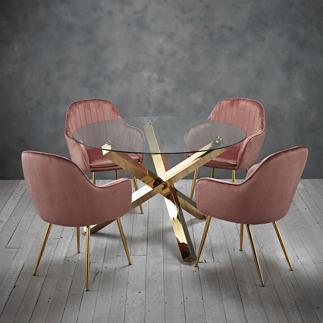 Lara Dining Chair Vintage Pink With Gold Legs Table