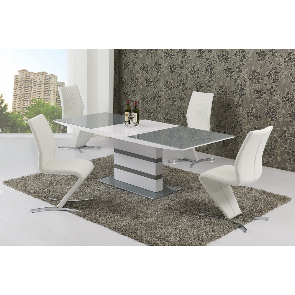 Nusa Grey & White Dining Set with Chairs (Number of Chairs: 8)