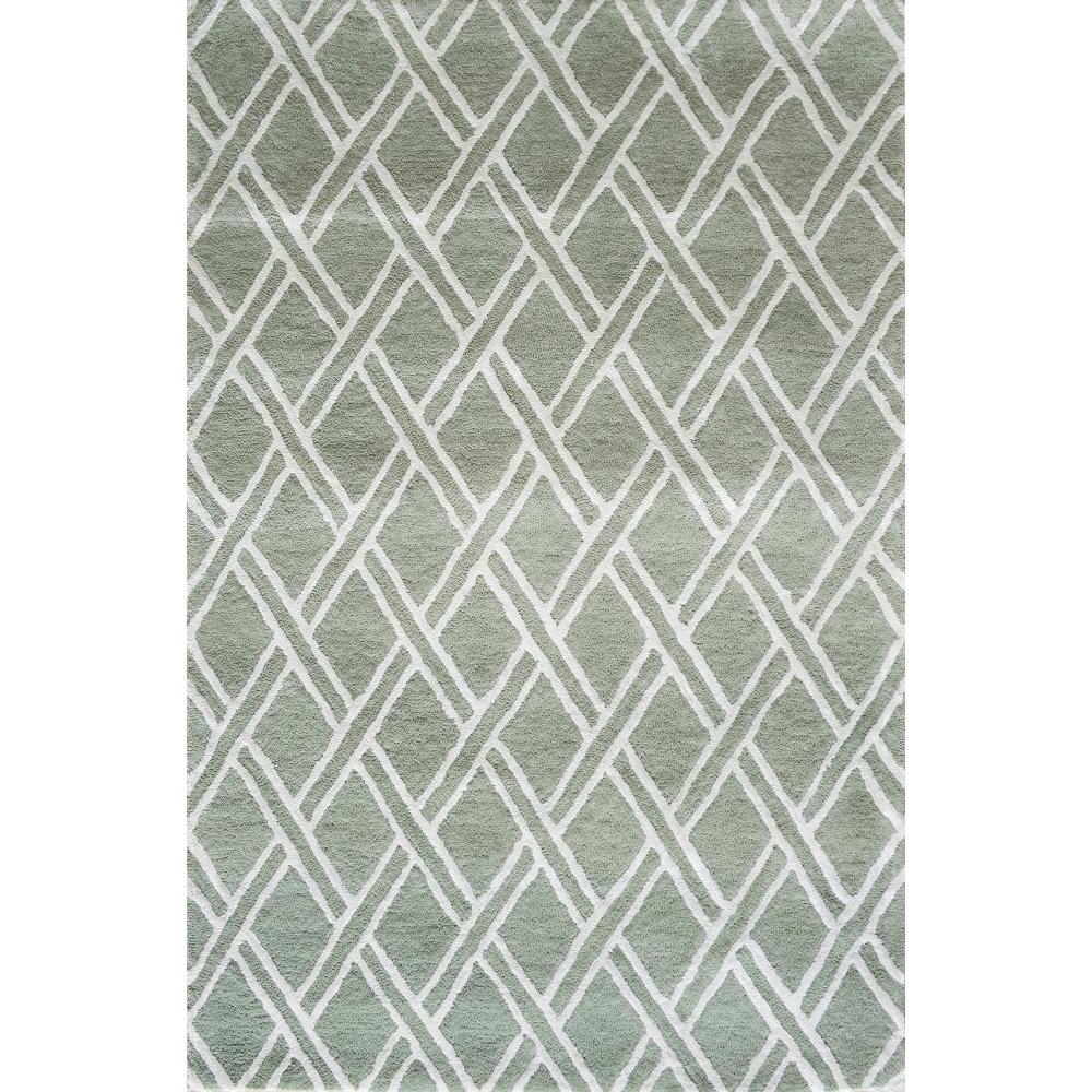 Diamond Hand-Tufted Wool Rug (Colour: Green, Rug Size: 160 x 230)