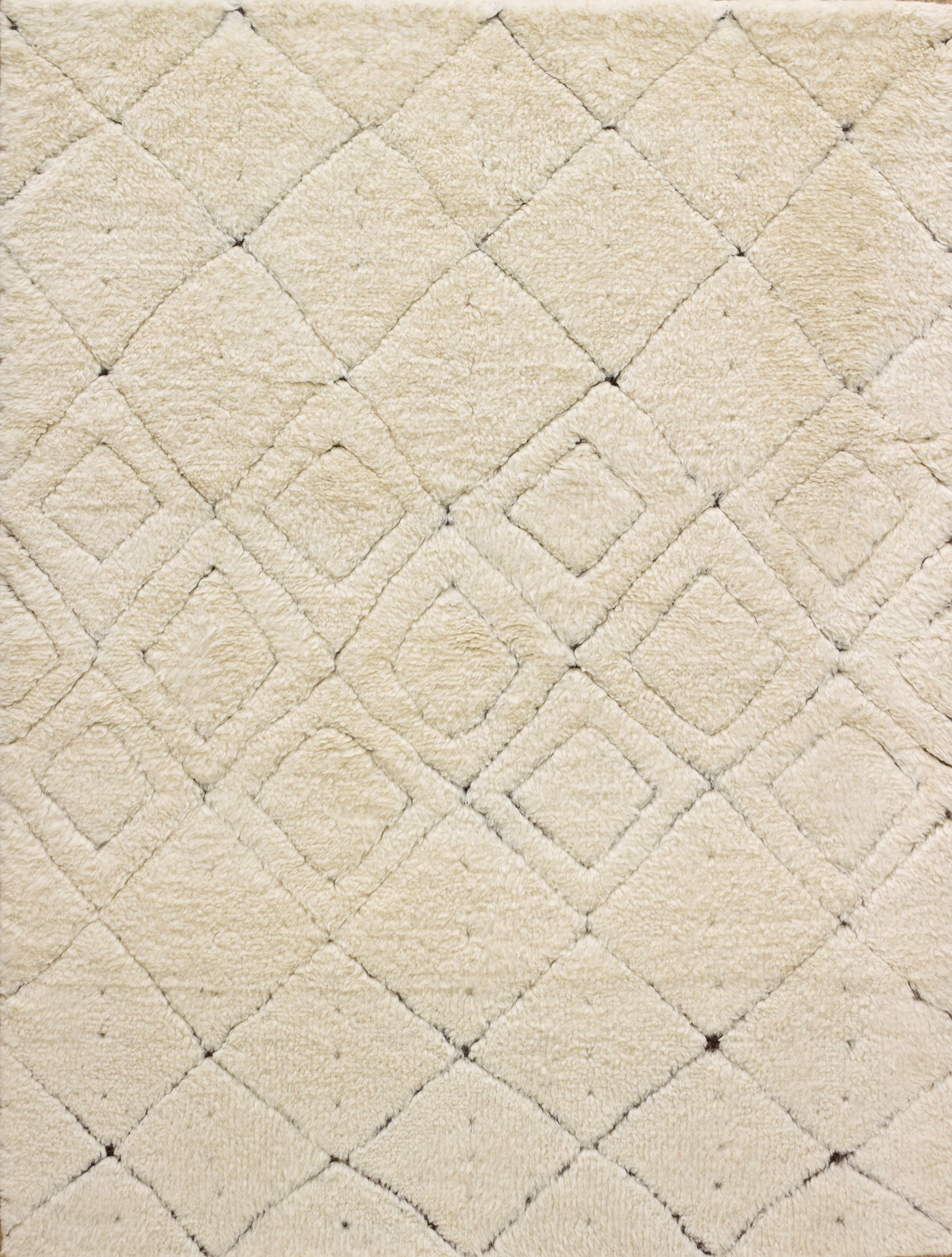 Moroccan Hand-Knotted Wool Rug (Colour: Cream, Rug Size: 160 x 230)