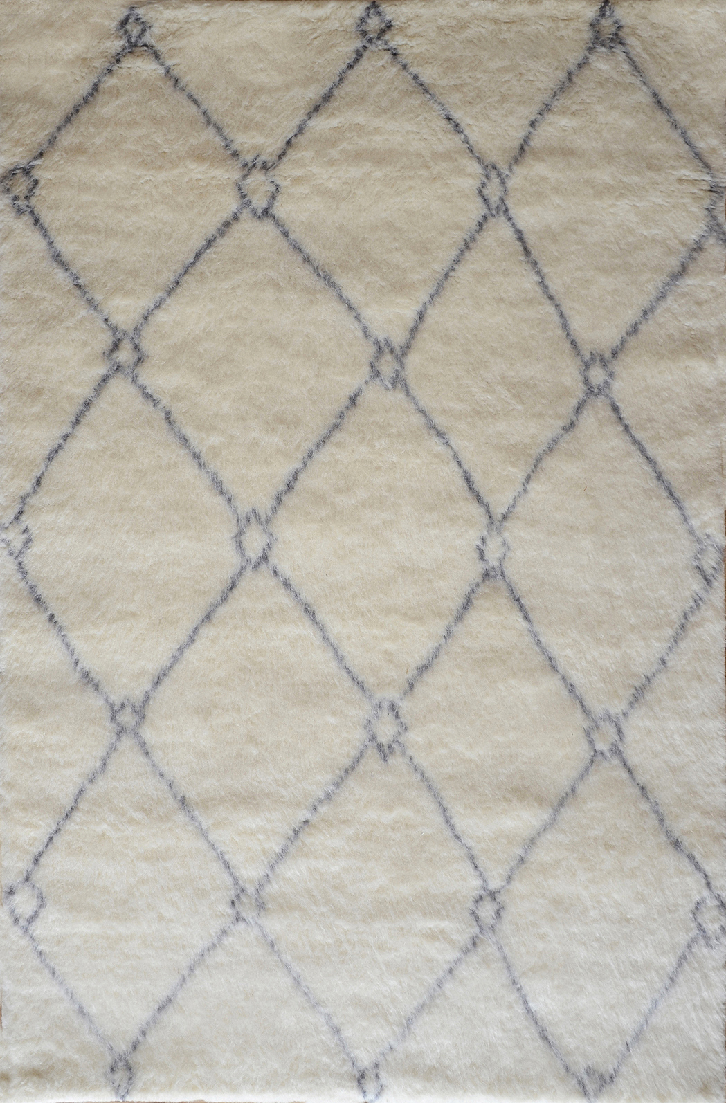 Moroccan Hand-Knotted Wool Rug (Colour: Ivory, Rug Size: 160 x 230)