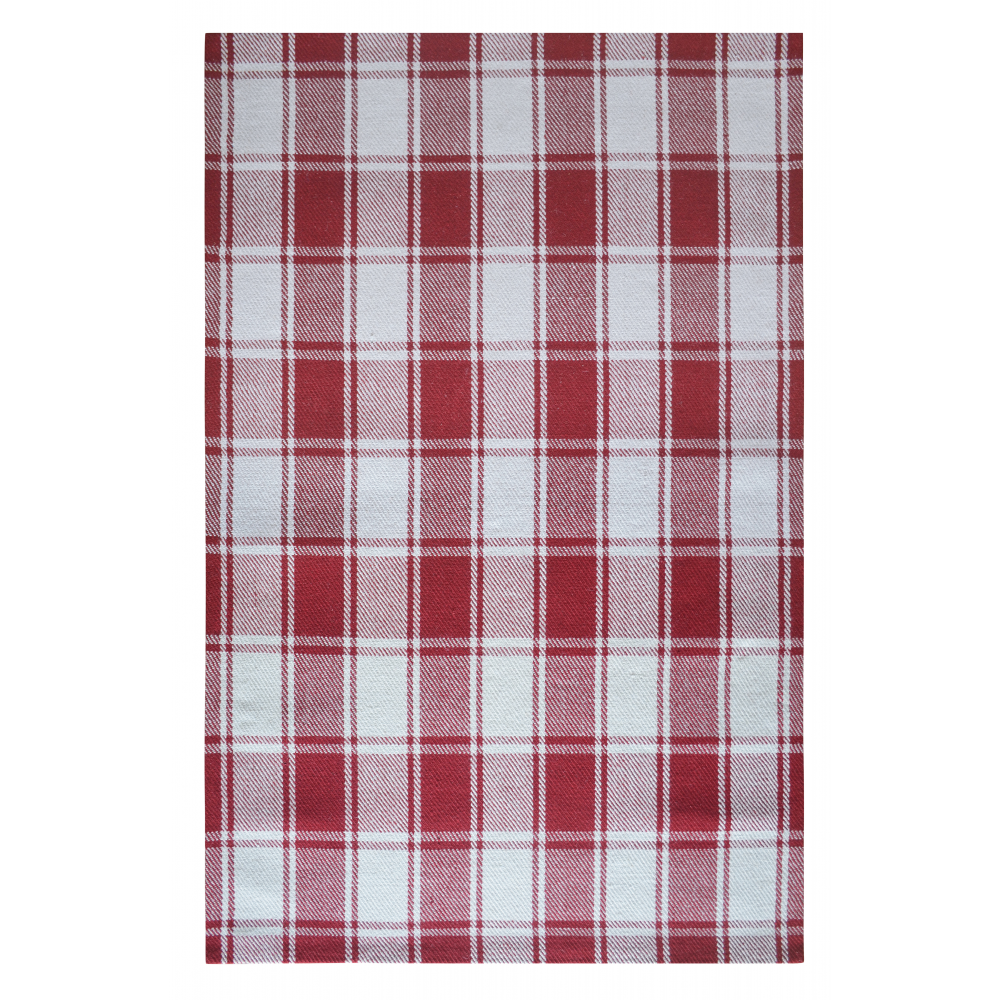 Tartan Hand-Woven Wool Rug (Colour: Red, Rug Size: 160 x 230)