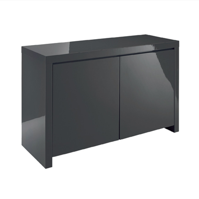 Puro Sideboard 2 Door High Gloss Stone (Colour: Charcoal)