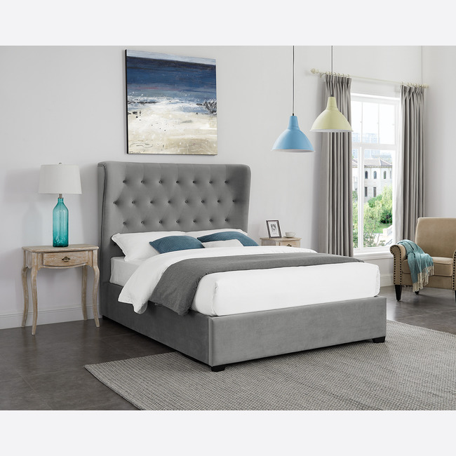 Belgravia Fabric Ottoman Storage Bed Frame (Bed Size: Double, Colour: Grey)