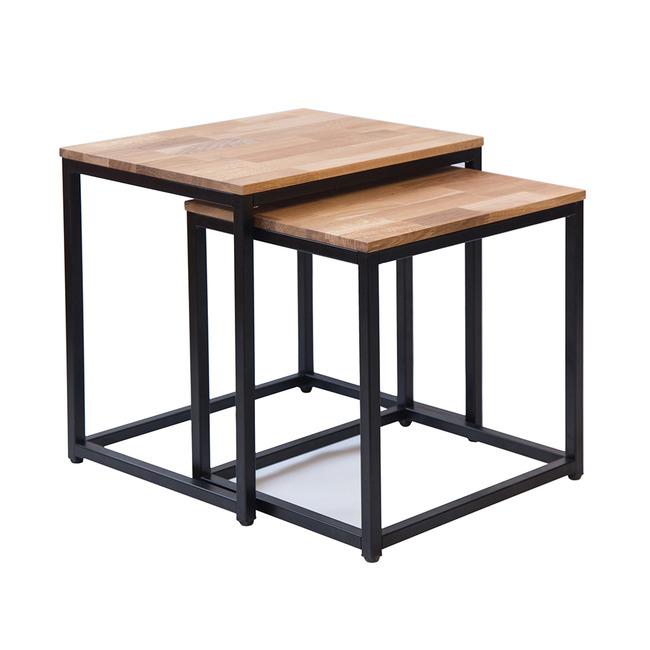 Mirelle Solid Oak Nest of Tables (Frame Finish: Black Frame)