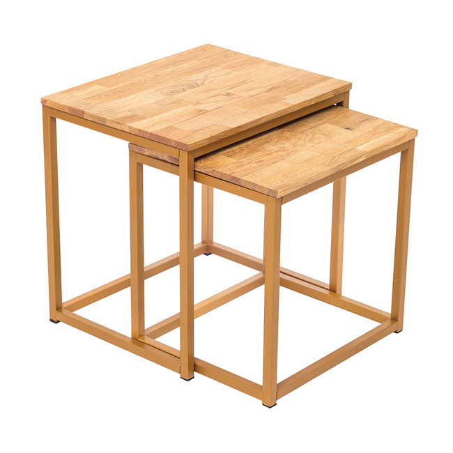 Mirelle Solid Oak Nest of Tables (Frame Finish: Gold Frame)