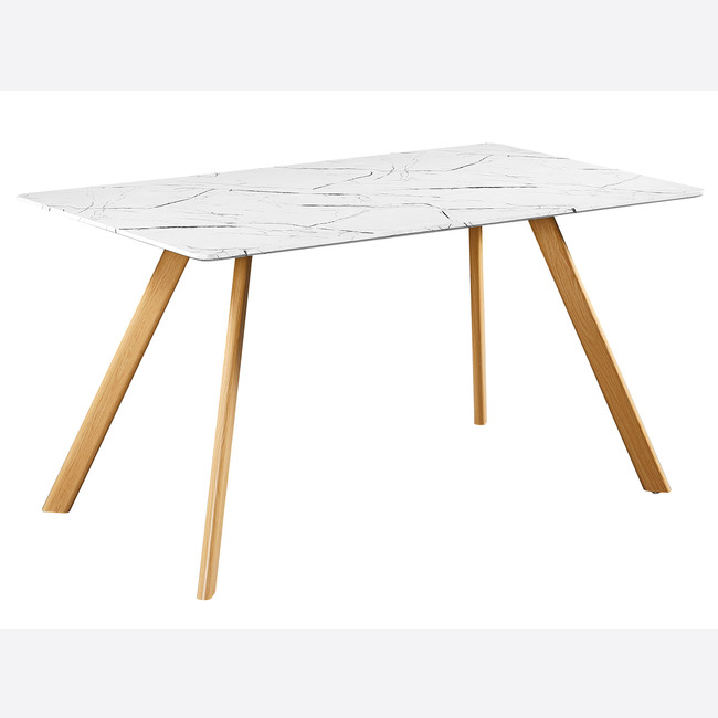 Venice White Dining Table Marble Effect