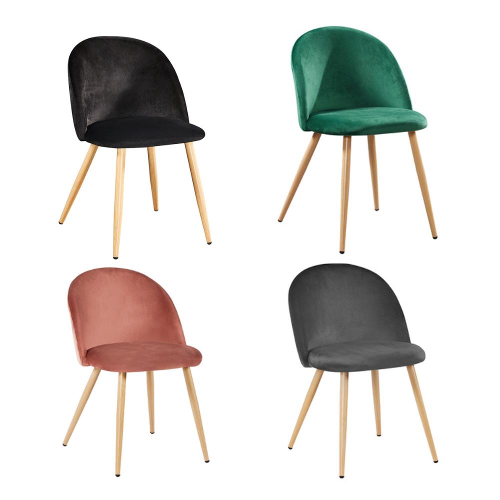 Venice Velvet Dining Chairs (Pair) - Various Colours (Colour: Pink)