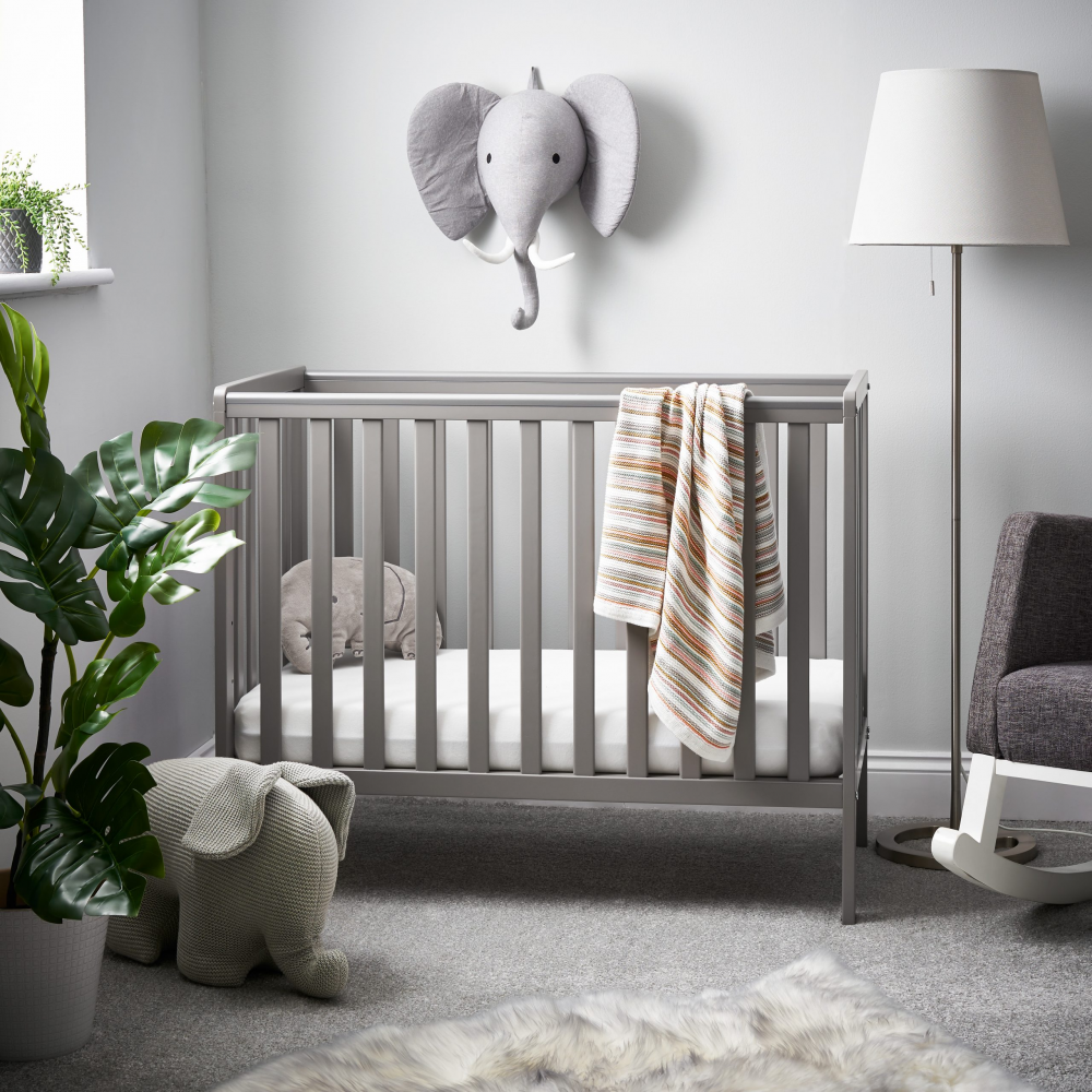 Children's Beds & Cots Obaby Bantam Space Saver Cot – Taupe Grey (Add Mattress?: Yes)