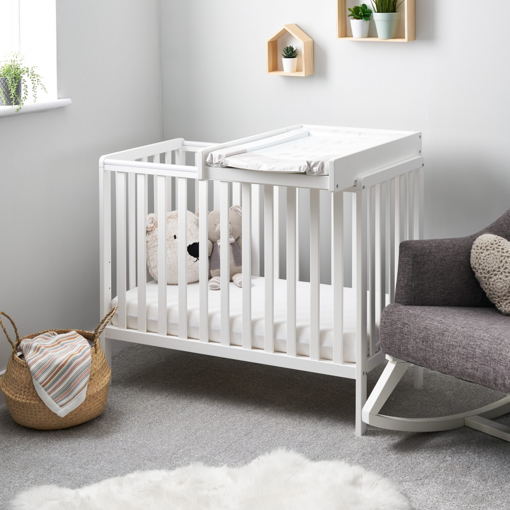 Beds Obaby Bantam Space Saver Cot – White (Add Mattress?: Yes)