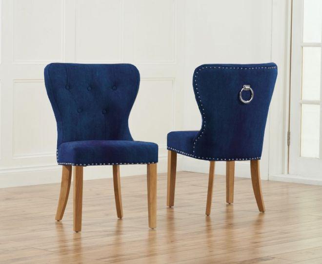 Kalim Plush Studded Chair (Pair) (Chair Colour: Blue)