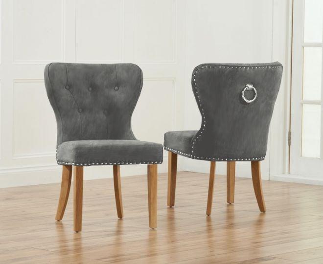 Kalim Plush Studded Chair (Pair) (Chair Colour: Grey plush light oak)