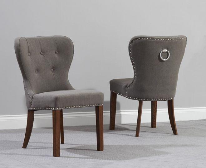 Kalim Plush Studded Chair (Pair) (Chair Colour: Dark wood Grey)